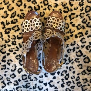 Tory Burch gold sandals wedges